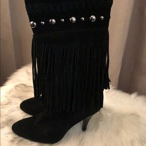 Guess suede fringe booties